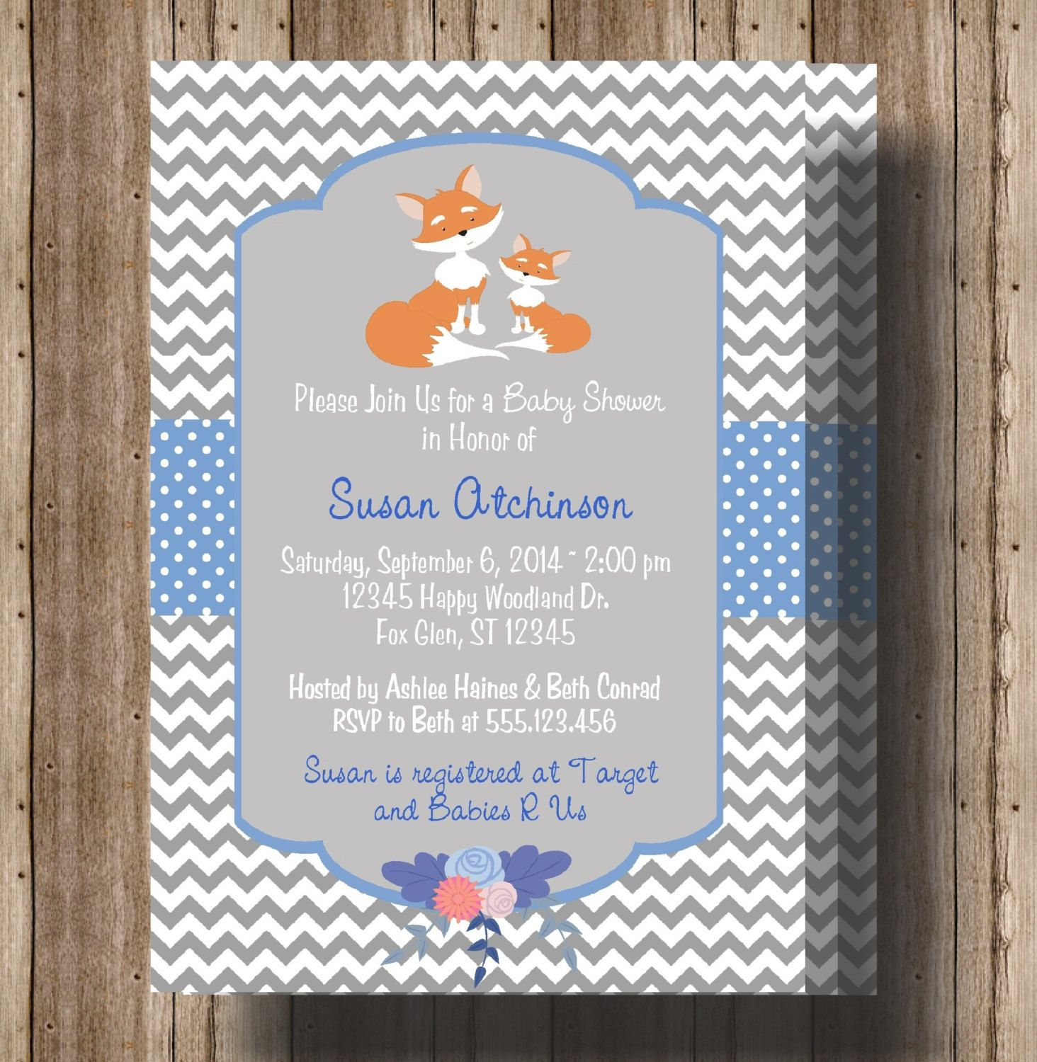baby shower invitation wording for bringing diapers%0A baby shower invitations fox theme   FOX BABY SHOWER Invitation for  Boys Woodland by traditionsbydonna