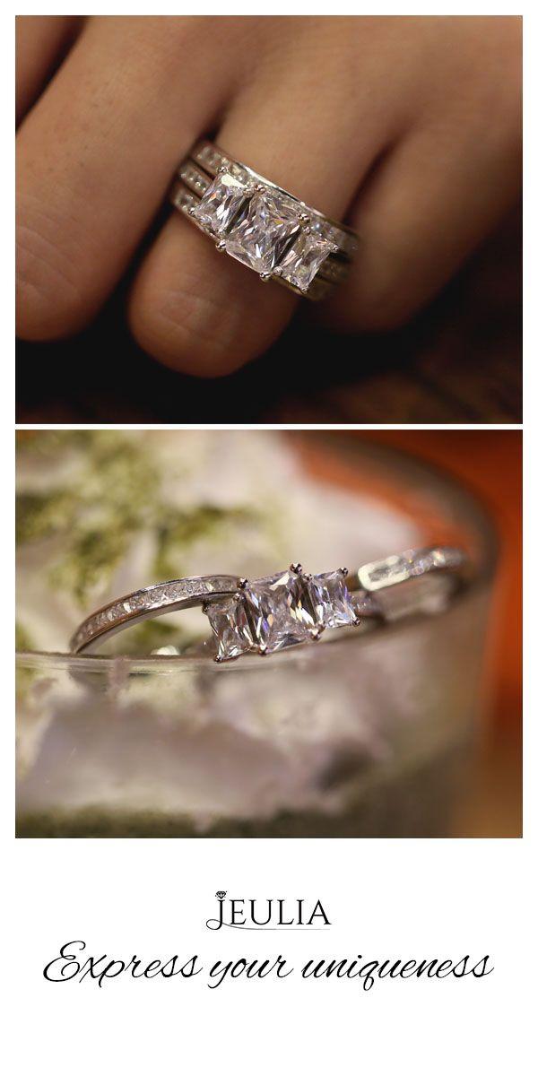 3PC Three Stone Radiant Cut Created White Sapphire Womens Wedding Set Jeulia