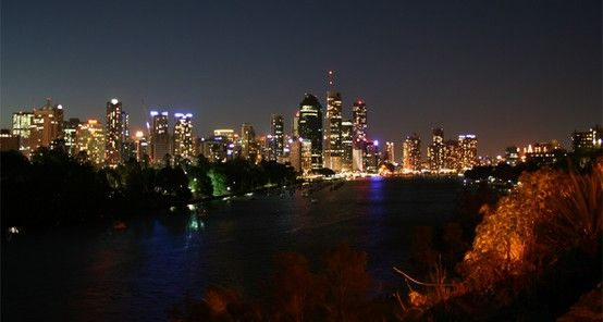 Nice colour reflection from city buildings in Brisbane, Queensland, Australia.  Taken from Kangaroo point cliffs.