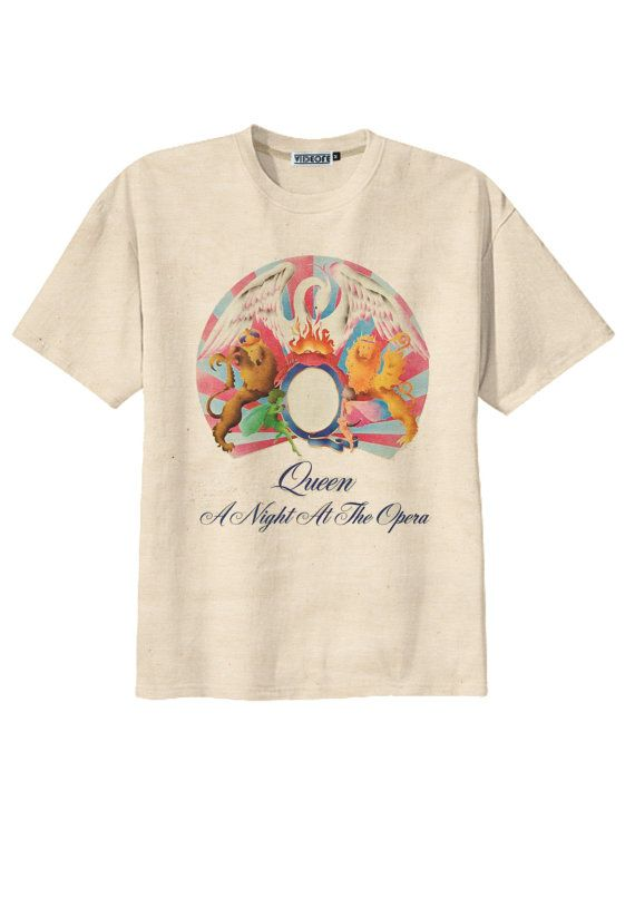 bb48f16c1 Retro Queen A Night at the Opera Rock Band T-Shirt Tee Organic Cotton  Vintage Look Size S M L