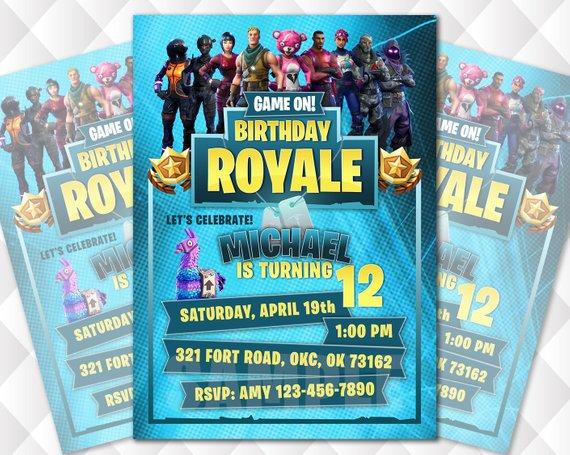 Fortnite Birthday Invitation Battle Royale Personalized Digital Printable Invite Free Gift Tag