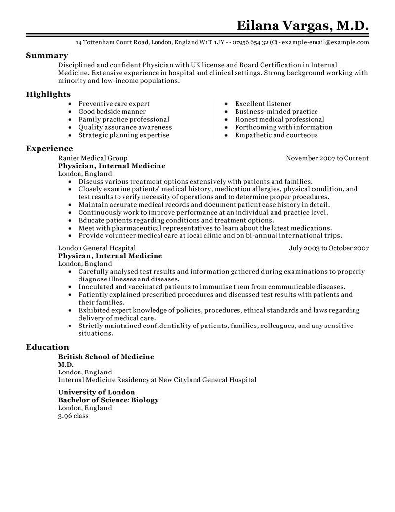 Best Doctor Resume Example Resume examples, One page
