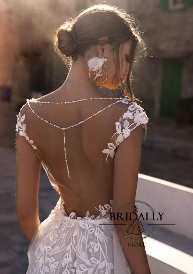 Wedding Dresses Discover White Lace Wedding Dress Floral Lace Wedding Gown Open Back Wedding Dress Deep V Neck Gown Unique Bridal Gowns Custom Made Wedding Gown