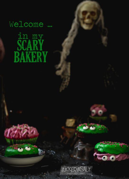 Happy Halloween ... scary chocolate donuts bakery ... with frosting and cream ... gruselige Schokoladen Donuts mit Zuckerguss und Sahne