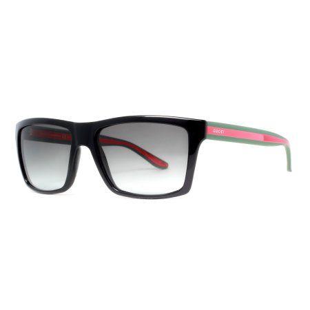 fac4e6048b9 Buy Gucci GG 1013 S 51N PT Shiny Black Grey Gradient Rectangular Sunglasses  at Walmart.com