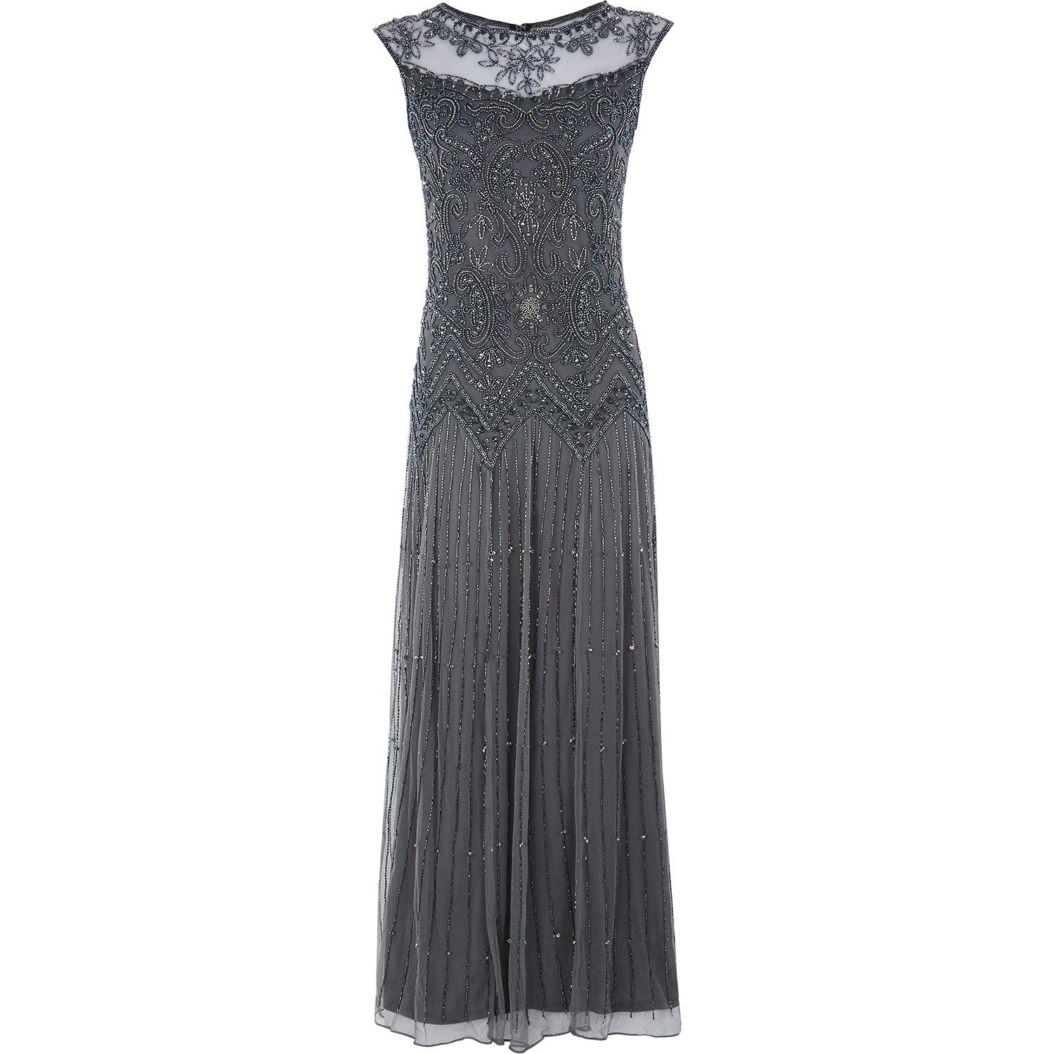 Pisarro Nights Grey Beaded Gown