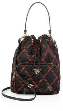 039584f8b648 Prada Tessuto Impunturato Quilted Bucket Bag. Sleek nylon bucket bag with  contrast impunto stitching. Top handle, 8