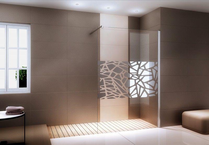 Duschabtrennung Walk-In Nano Echtglas EX101 - Spiegelmuster mittig