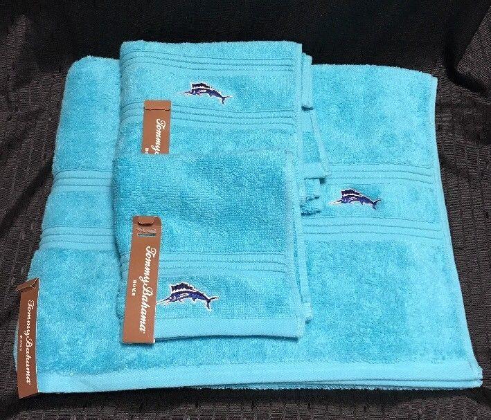 3 Pc Tommy Bahama Embroidered Swordfish Bath Towel Set Aqua Blue