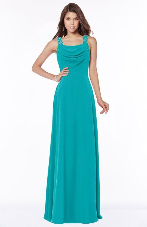5da069996cff ColsBM Thea Teal Elegant Wide Square Sleeveless Half Backless Chiffon  Beaded Bridesmaid Dresses