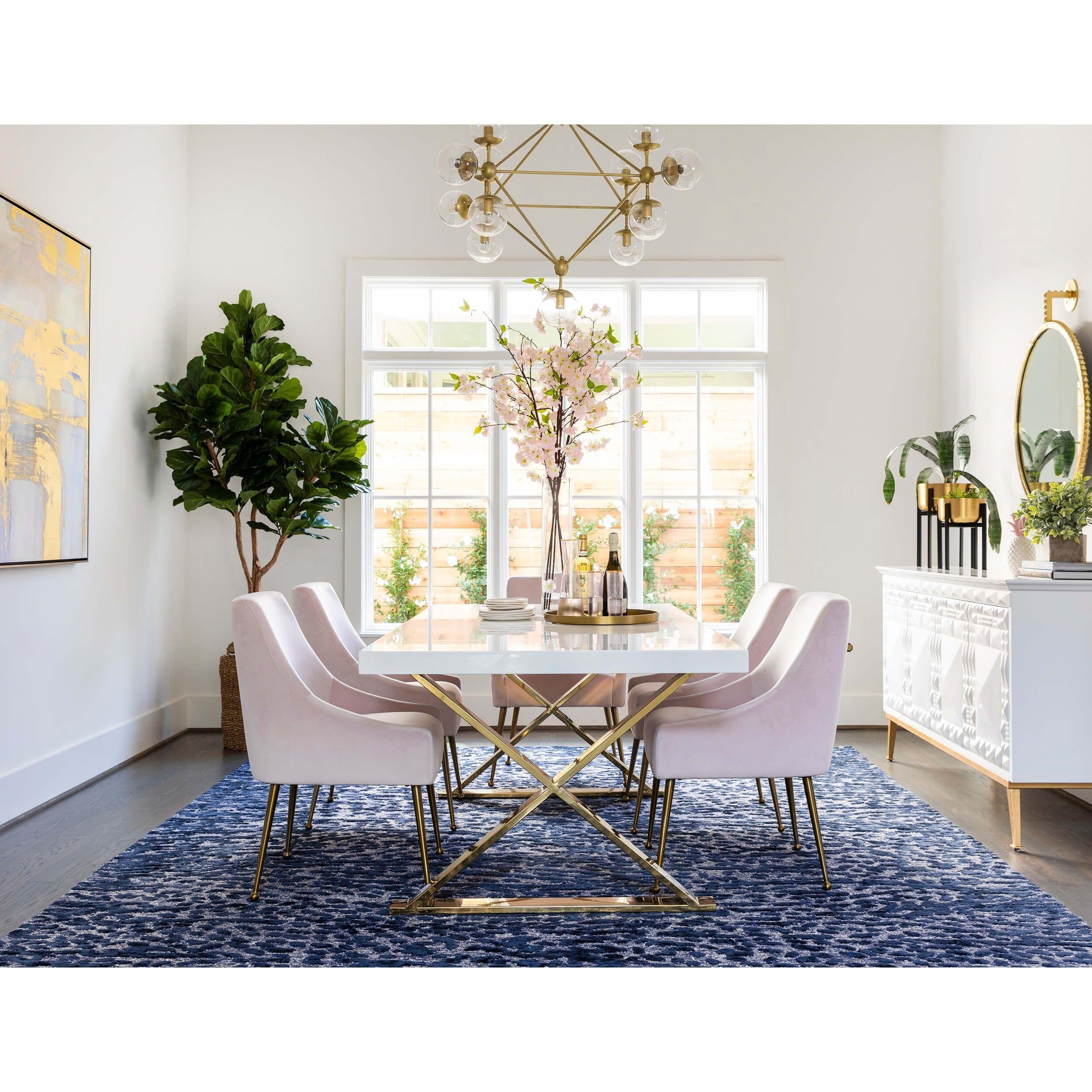 Alexa Dining Table White Polished Gold Base Gold Dining Room White Dining Room Dining Room Small