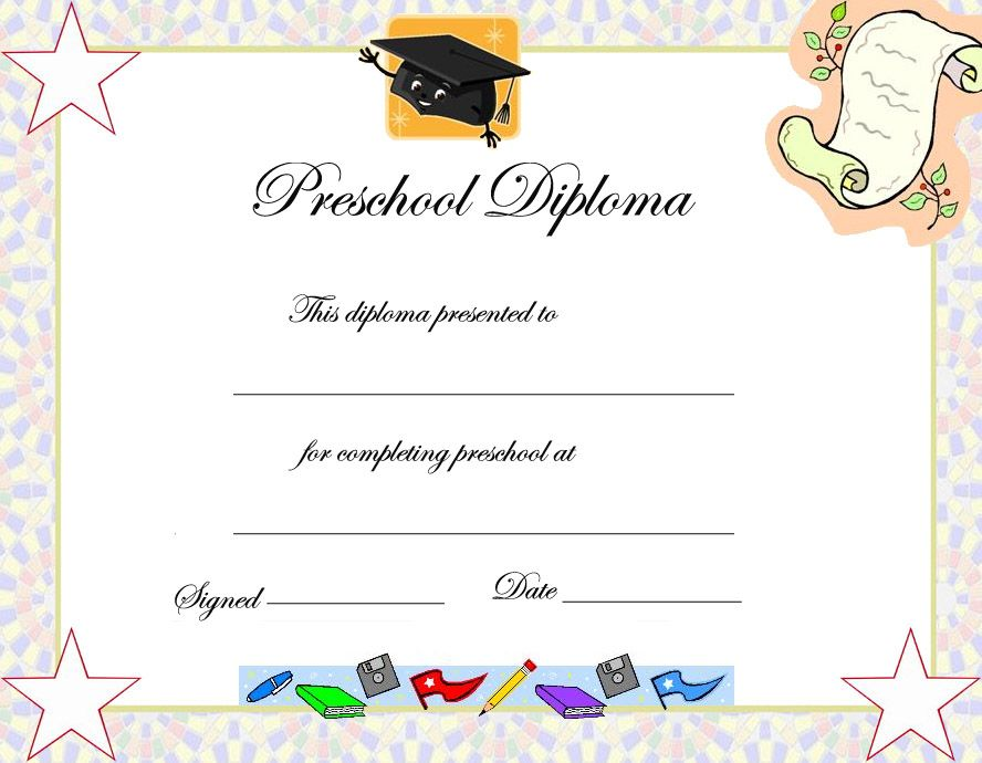 preschool diploma. Black Bedroom Furniture Sets. Home Design Ideas