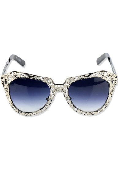 Metallic Cutout Frame Shades - Black + Silver  $18.00