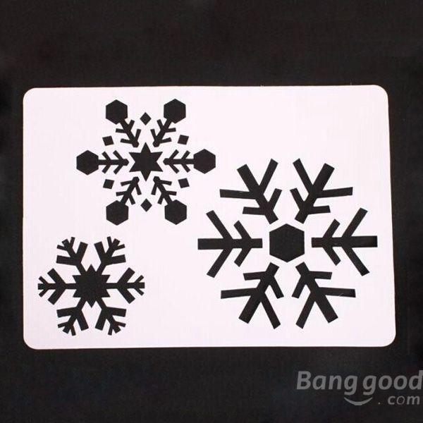6 Pcs Large Christmas Spray Snow Template Window Decoration