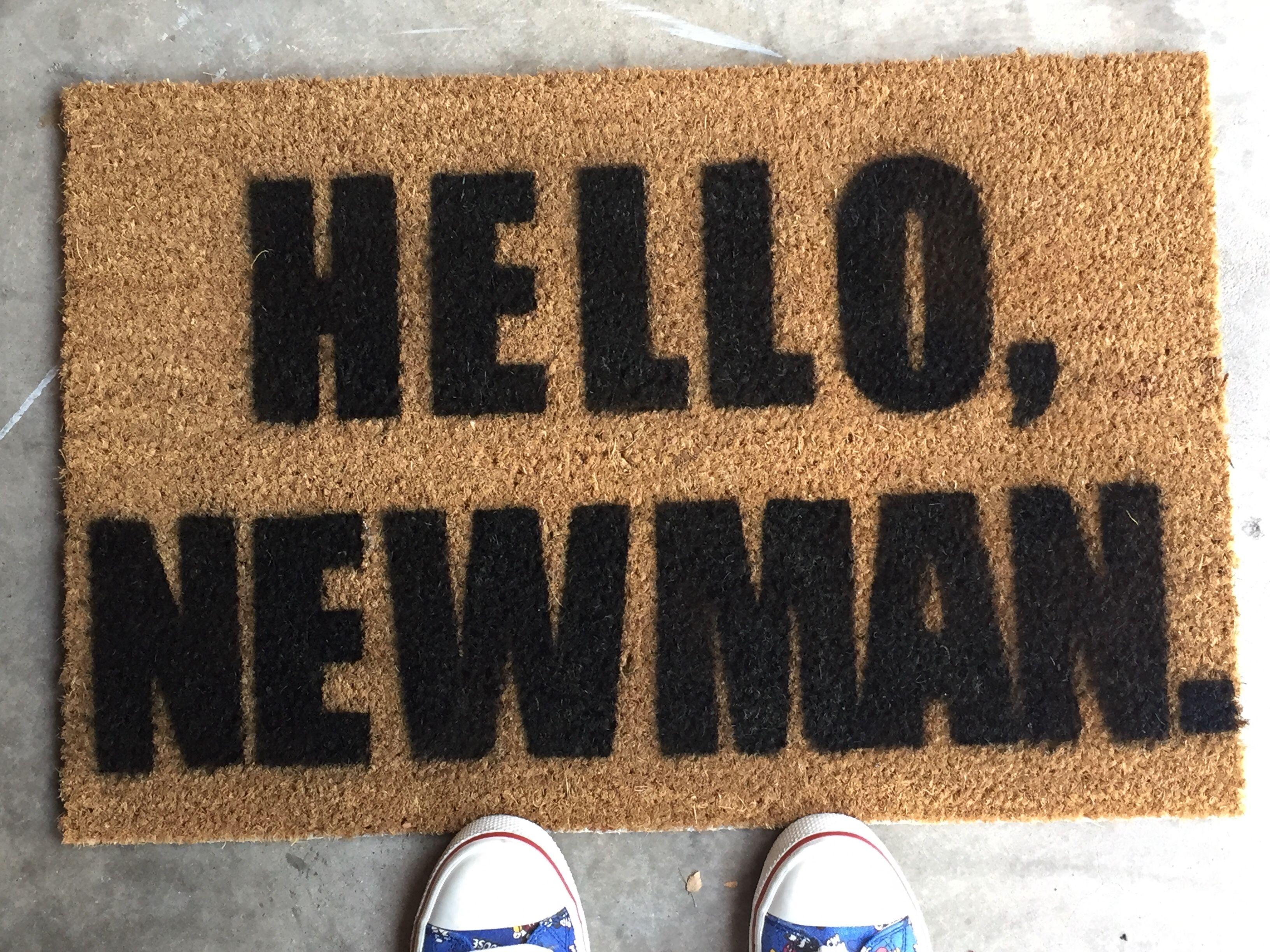 Hello Newman Spray Painted Front Door Mat Diy Doormat Seinfeld Painted Front Doors Front Door Mats Door Mat
