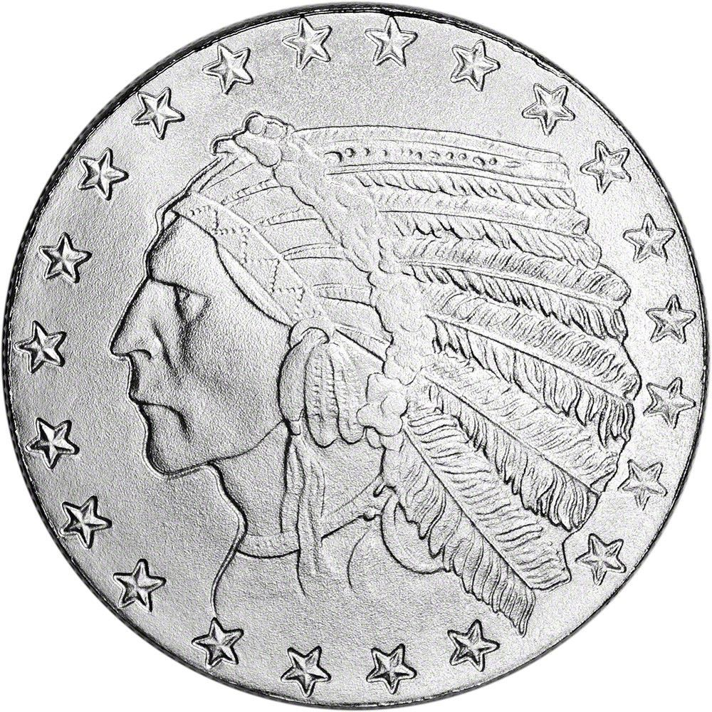 1 Oz Highland Mint Silver Round Incuse Indian Design 999 Fine Coin Art Indian Design Silver Rounds