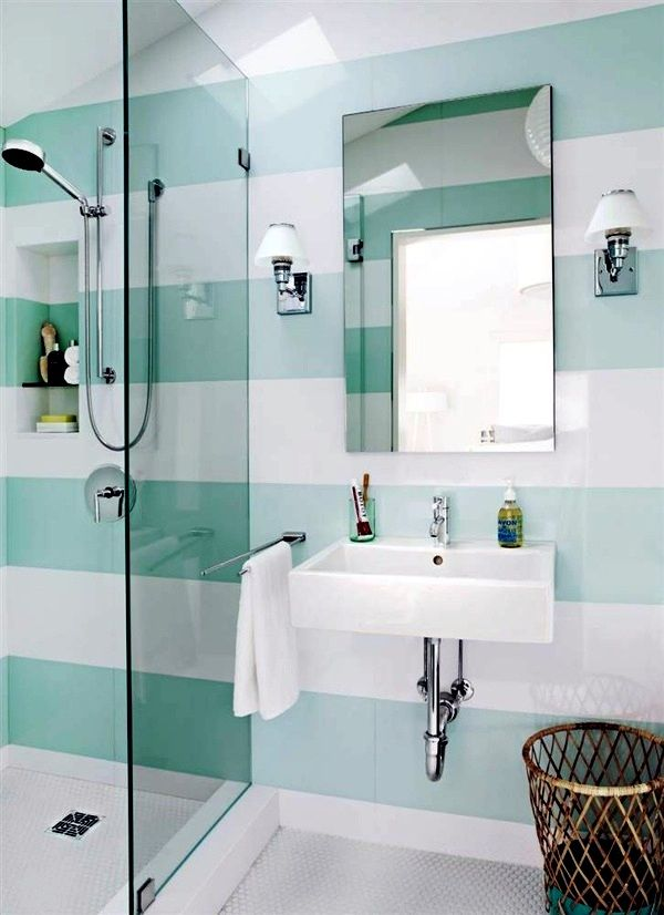Guide To Small Bathroom Tile Ideas Blue White Bright Tiles For