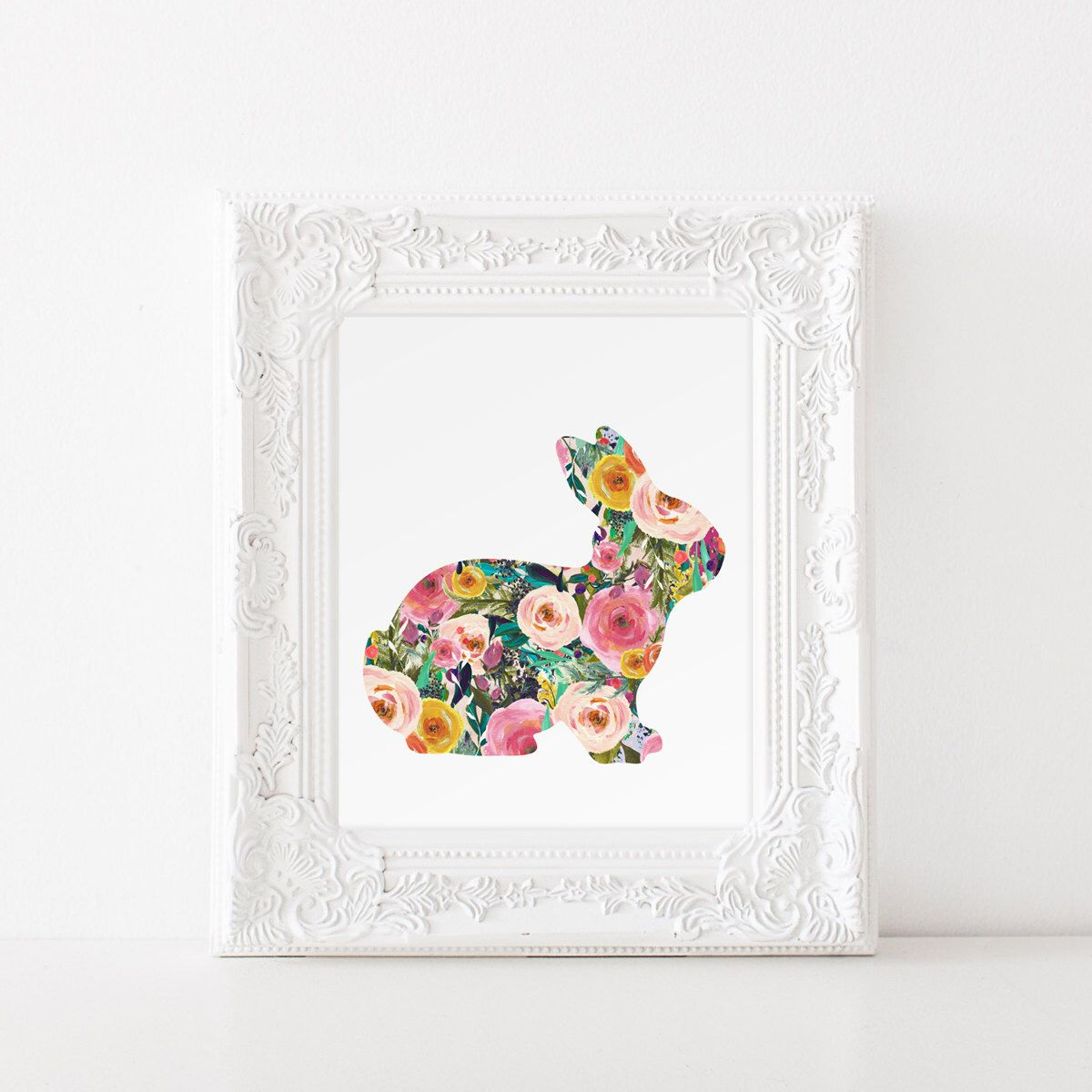 Baby Nursery Decor Rabbit With Beautiful Fl