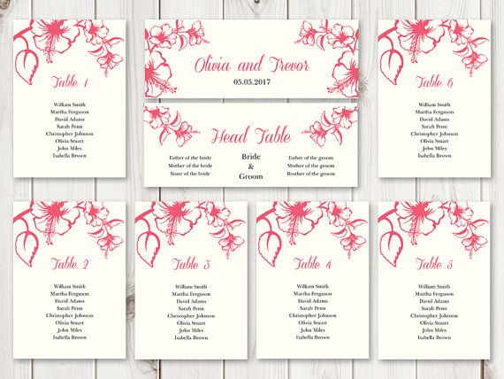 Printable Wedding Seating Chart Template Hawaii Tropical Pink