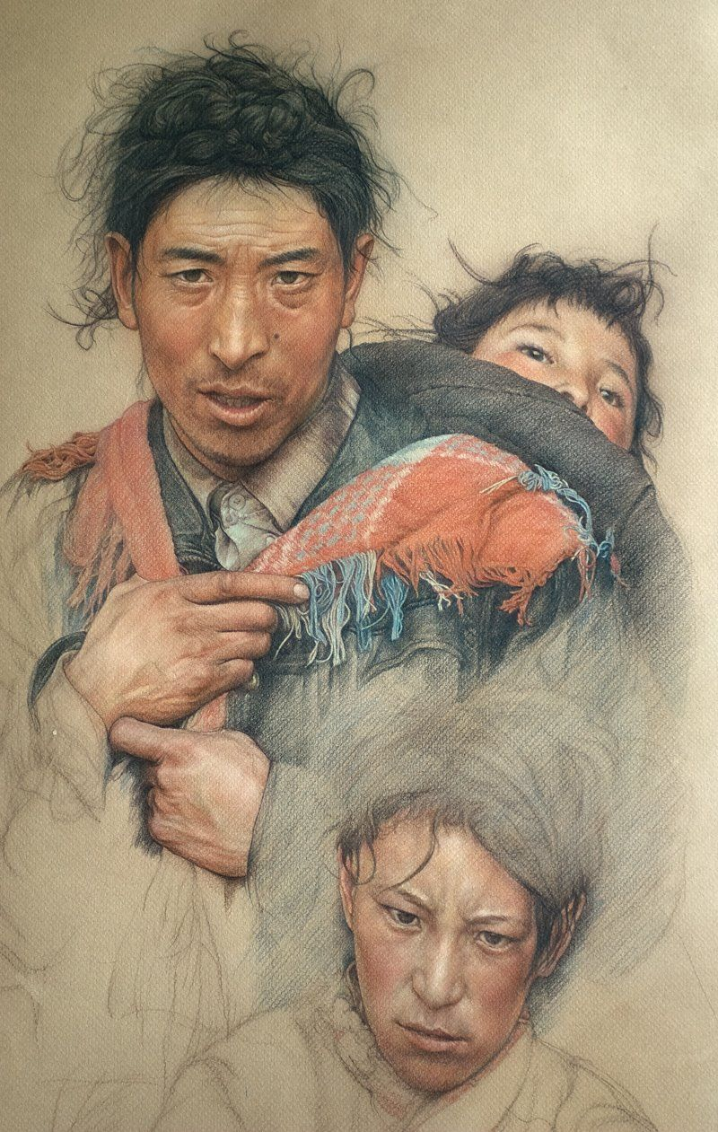 'Part of Tibetan Family' by William Wu (b1955, Shanghai, Huang Pu Province, China; aka william690c on deviantArt)
