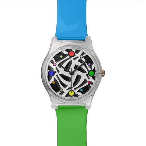 Black White Multicolor Abstract Watch