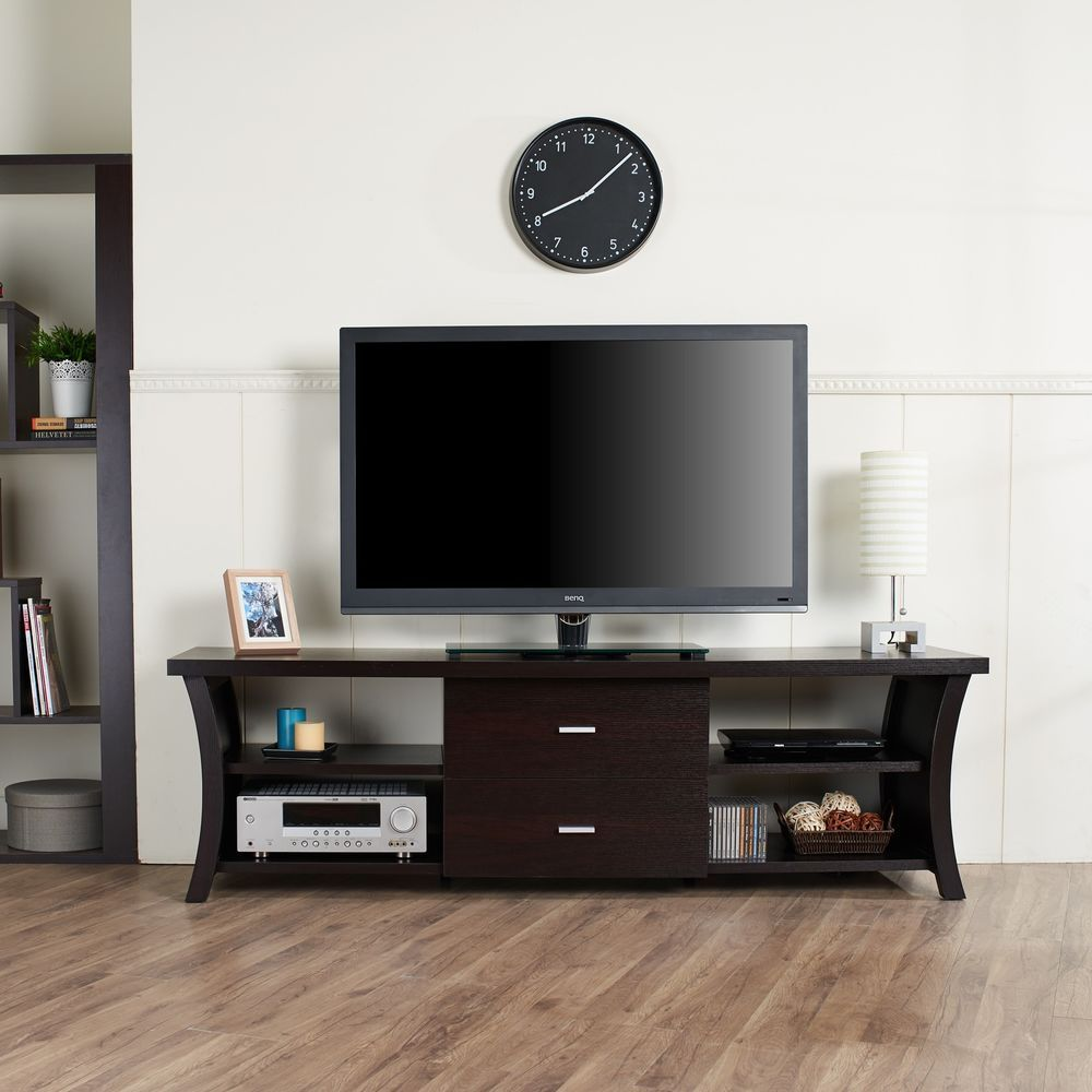Modern tv stand with storage cabinet drawers and open shelving tv