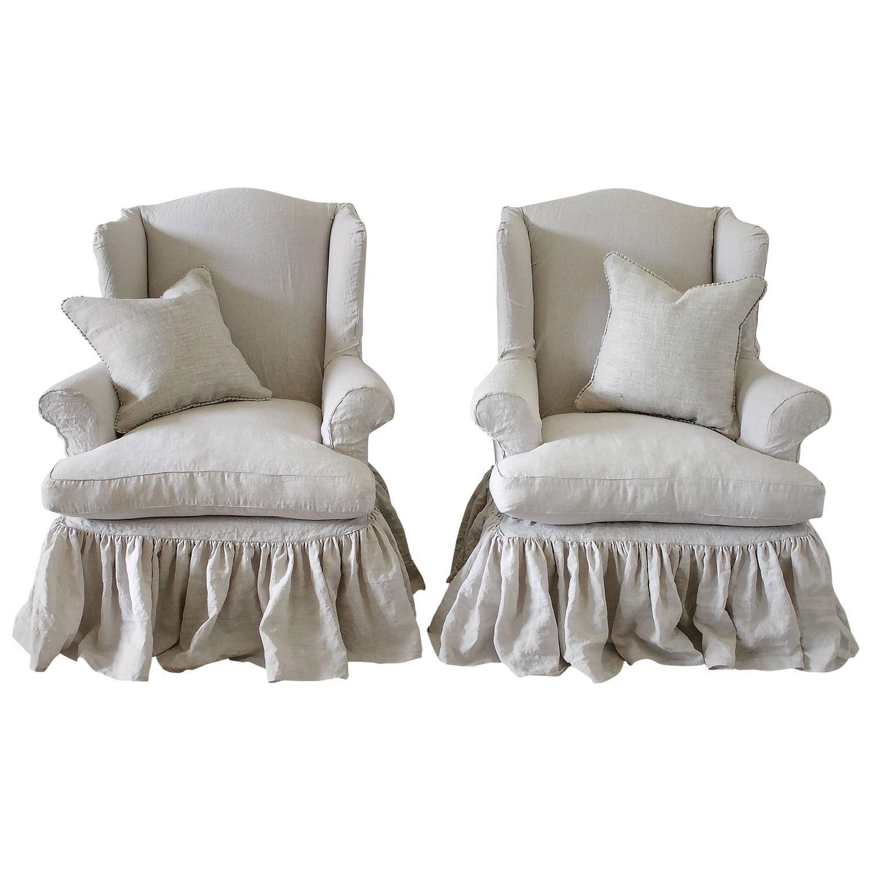 Vintage Wingback Chairs Slip Covered in Organic Irish
