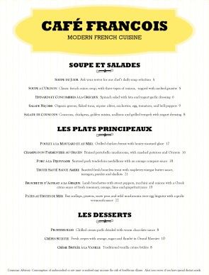 Classical French Menu Template Finedining Frenchrestaurant