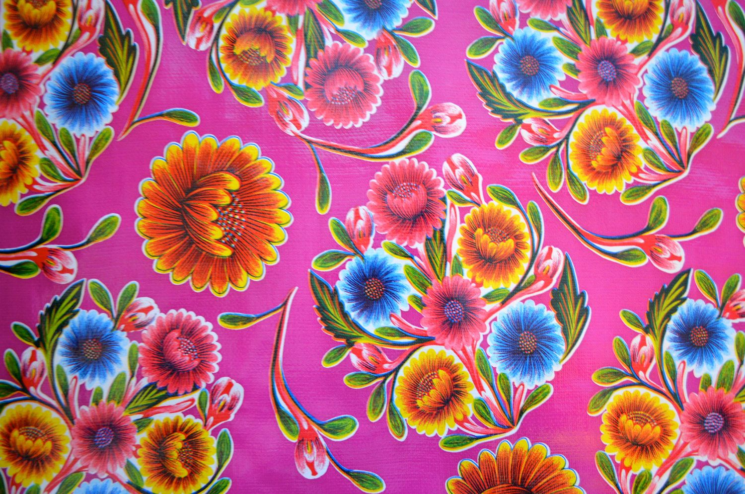 Mexican Oil Cloth Bloom In Magenta Oil Cloth Flower Artwork