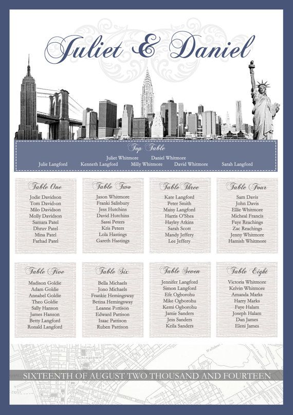 Elegant New York Theme Wedding Seating Plan on Etsy, £7500 - wedding plans