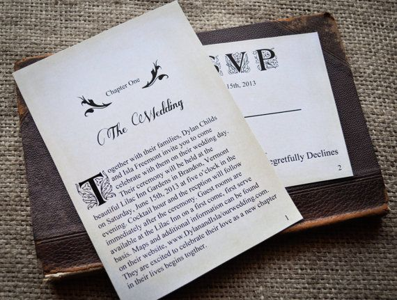Novel Wedding Gifts: Novel Idea Literary Wedding Invitation Set By
