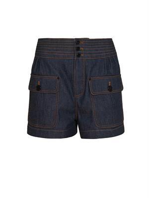 Chloe's stitched pleat-front denim shorts