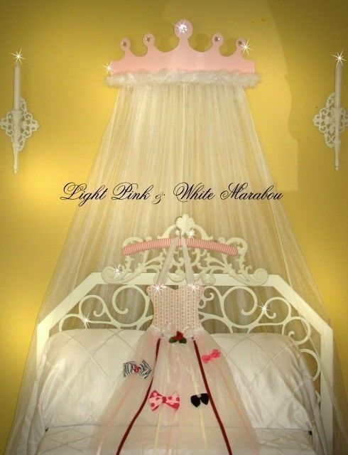 Canopy Bed Princess Crown Light Pink by VanLeskaWoodCrafters, $48.99