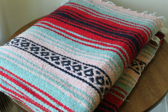 Vintage Mexican Blanket Stripe Red Turquoise Blue by foxbride