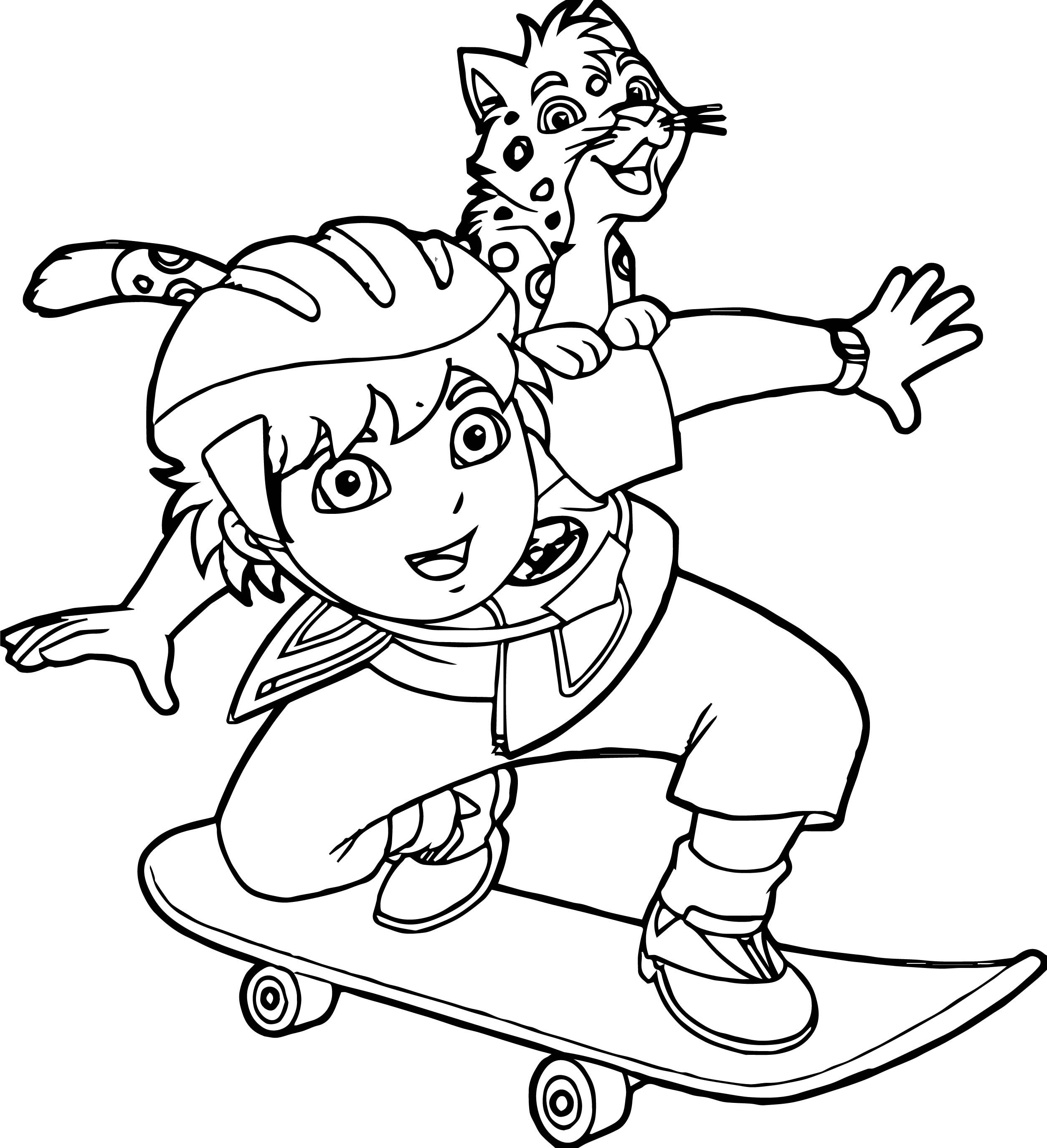 Awesome Go Diego Go And Lion Skate Coloring Page Coloring Pages