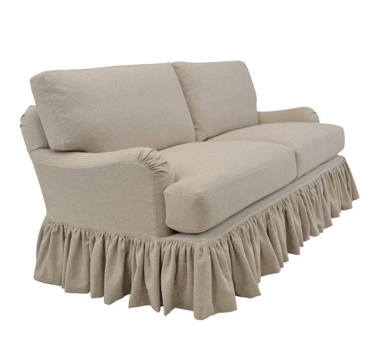 Chenille Skirted Sofa: Slipcovered Sofa With Ruffle Skirt - Milan Style