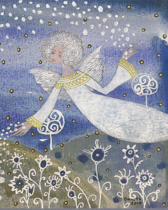 Christmas Angel Greeting Card Fantasy Art Print Printable Art Art