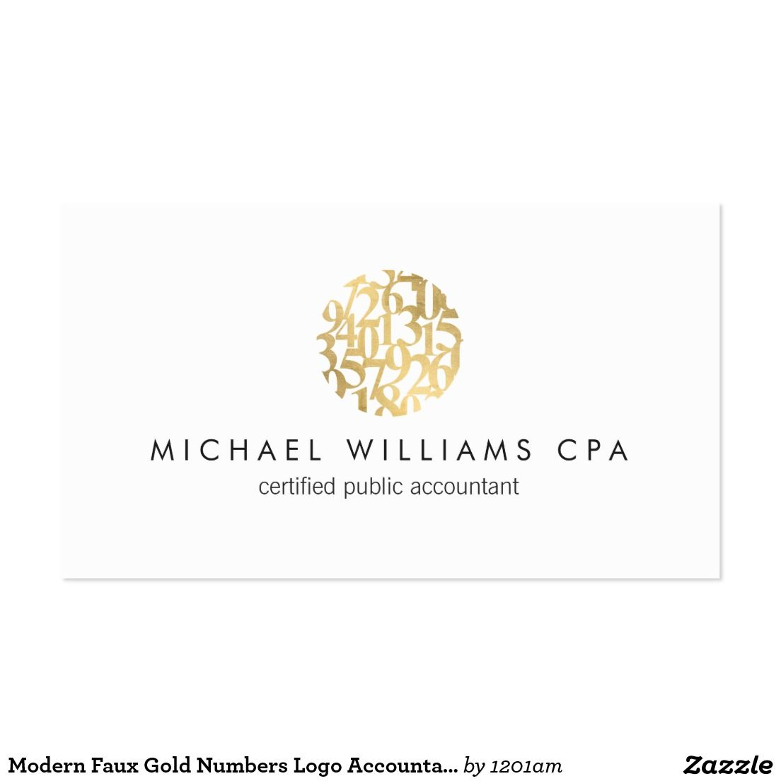 Modern Faux Gold Numbers Logo Accountant Business Card | Business ...