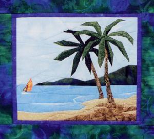 Tropical Scene Beach Palm Tree Landscape Quilt Pattern