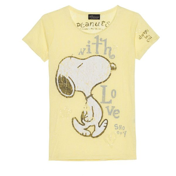 Princess Goes Hollywood Snoopy With Love Yellow Burn Out T Shirt 75 Liked On Polyvore Featuring Tops With Images Beige T Shirts Embroidered Tshirt Tshirt Print