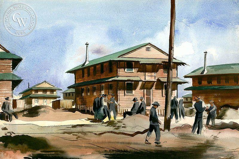 Half Hour Rest Period, Camp Roberts, 1941, art by Millard Sheets – California Watercolor