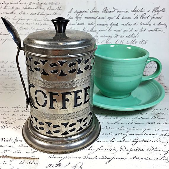 Silver Retro Coffee Canister With Spoon Container Black Lidded