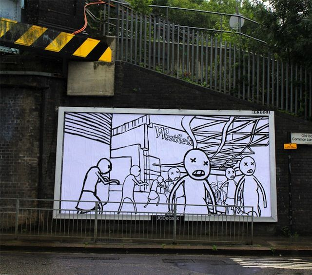 Brandalism is a billboard hijacking project taking place throughout England. Over 5 days, 25 artists from 8 different countries displayed their artwork all over the country. The artworks seek to confront the ad industry and take back the visual landscape which we all have to view every day of our lives.