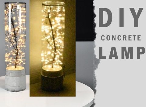 Fairy Lights Concrete Lamp Diy Project Up Lighting Homesteading The Homestead Survival Com Please Share Th Diy Lamp Concrete Lamp Fairy Lights Diy