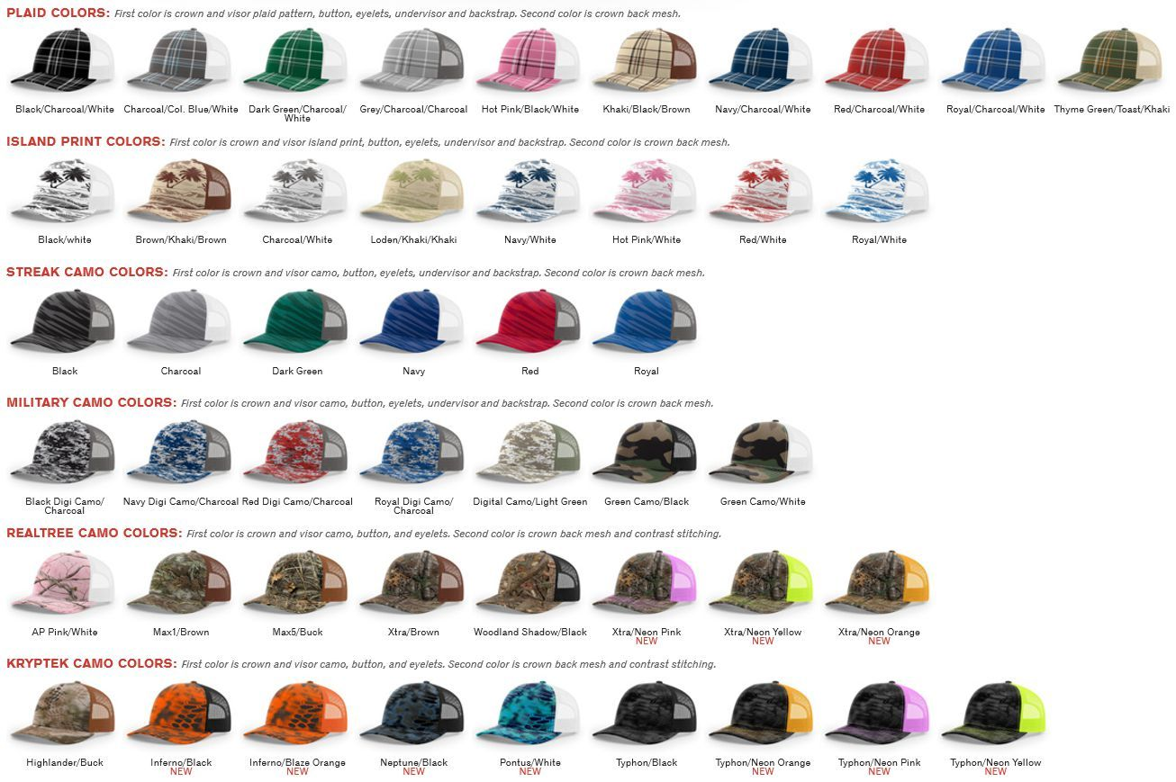 6d845b7423238 112P Printed Tucker Mesh Adjustable Hat by Richardson Cap Fit  Adjustable  Snapback - Shape  Mid-Pro - Fabric  Cotton Poly Nylon Mesh - Visor   Precurved ...