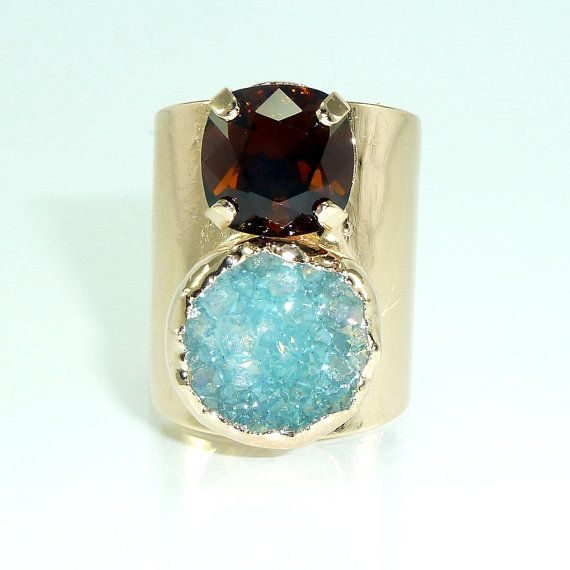 Double Stones Ring Turquoise Druzy Cocktail Ring by inbalmishan