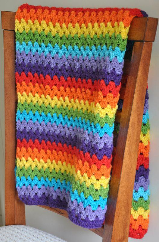 Granny Rainbow Blanket | CROCHET - GRANNY STRIPE AFGHAN ...