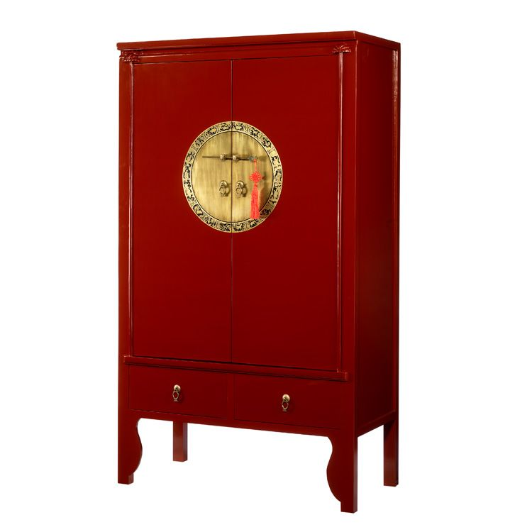 Beautiful Oriental Red Lacquer Wardrobe