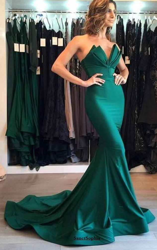 Sexy Mermaid Green Evening Dress,Mermaid Strapless Formal Dress from Sancta Sophia - Green prom dress long, Popular prom dresses, Prom dress with train, Sweetheart prom dress, Sexy evening dress, Evening dresses long -  Lace up Fully Lined Yes  BuiltIn Bra Yes  FabricMatte Satin 1 Standard sizes or custom sizes   For custom size,please leave following measurements You can find a message box in the shopping cart, leave us your custom size Thank You   Bust Please