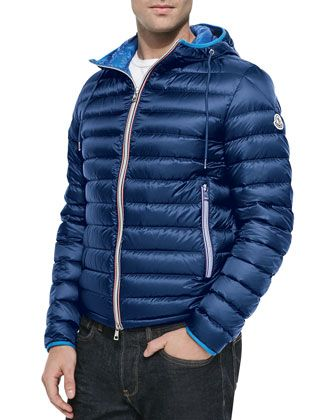 98f8ca5c6 Athenes Hooded Puffer Jacket, Blue by Moncler at Neiman Marcus. | My ...